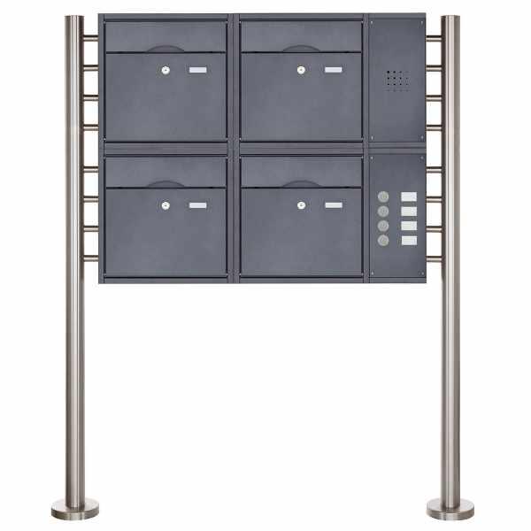 4er 2x2 Standbriefkasten PREMIUM BIG mit Klingeltableau aus Edelstahl pulverbeschichtet in RAL