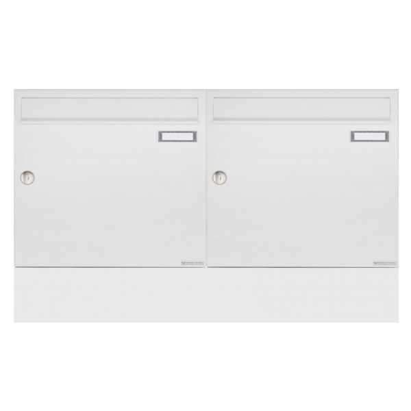 2er Aufputz Briefkasten BASIC 382A AP Waagerecht mit Zeitungsfach - RAL 9016 verkehrsweiß