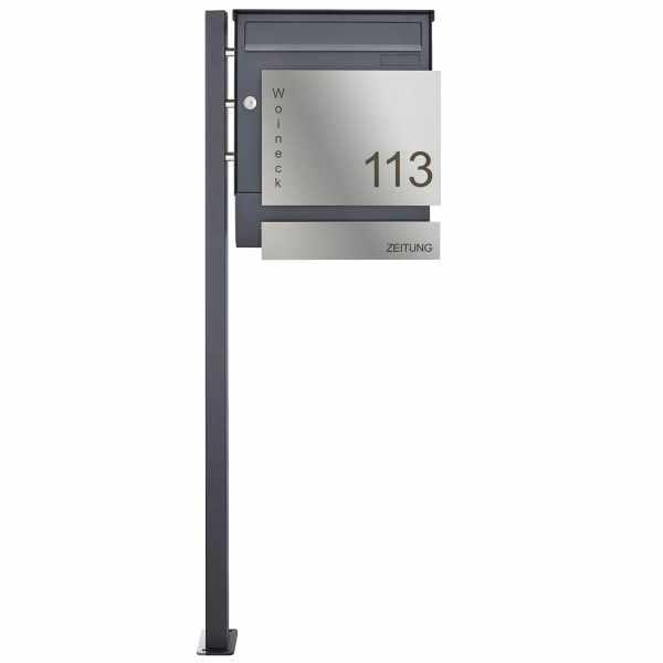 1 Säulen Edelstahl Standbriefkasten FANNY 374A mit Zeitungsfach - RAL nach Wahl - Blende Edelstahl