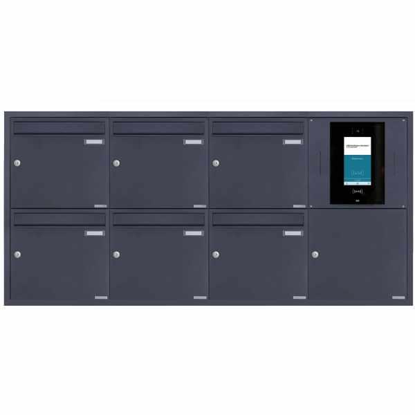 6er 4x2 Edelstahl Unterputzbriefkasten BASIC Plus 382XU UP - RAL nach Wahl - STR Digitale Türstation