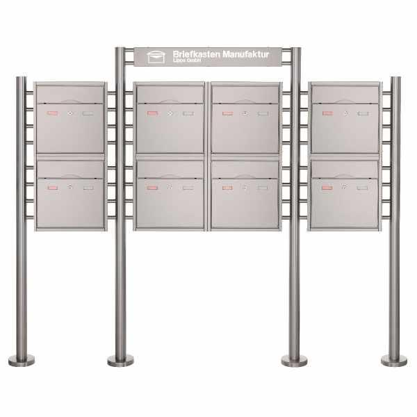 8er 2x4 Standbriefkasten PREMIUM BIG ST-R mit Beleuchtungskasten 800x100x50 aus Edelstahl