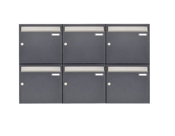 6er 2x3 Aufputz Briefkastenanlage Design BASIC 382 AP - Edelstahl-RAL 7016 anthrazitgrau