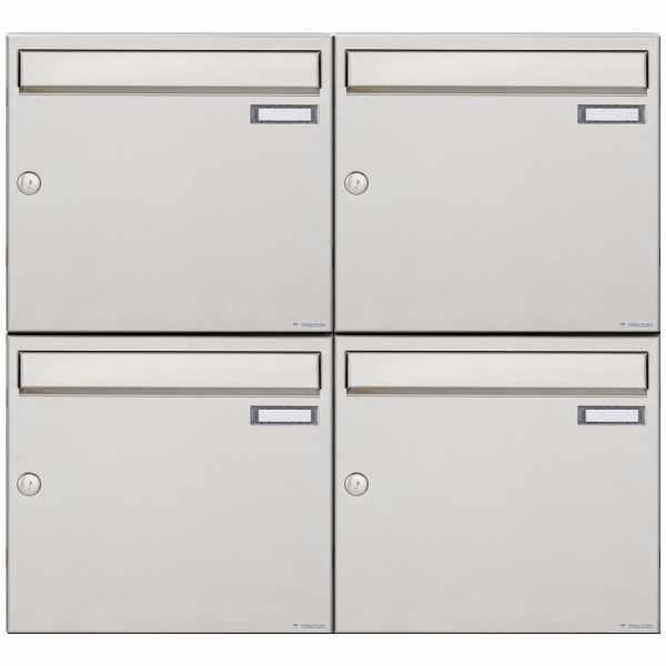 4er 2x2 Edelstahl Aufputz Briefkastenanlage Design BASIC 382A-AP