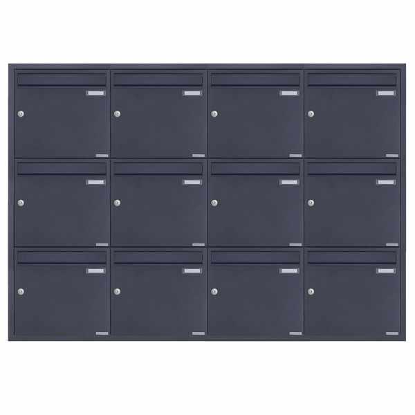 12er 4x3 Edelstahl Unterputz Briefkastenanlage BASIC Plus 382XU UP - RAL nach Wahl - 12 Parteien