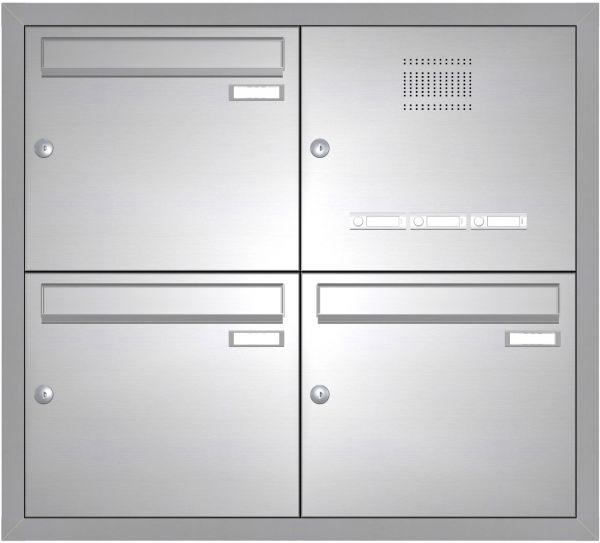 Edelstahl Unterputz Briefkastenanlage BASIC 534-UP - Klingel- Sprechstelle - 3 Parteien