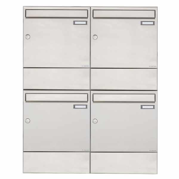4er 2x2 Edelstahl Aufputz Briefkasten BASIC 382A AP mit Zeitungsfach