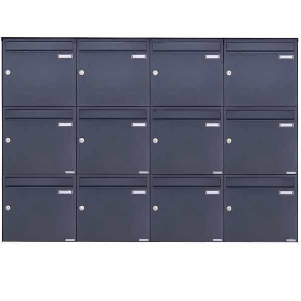 12er 3x4 Edelstahl Aufputz Briefkasten Design BASIC Plus 382XA AP - RAL nach Wahl
