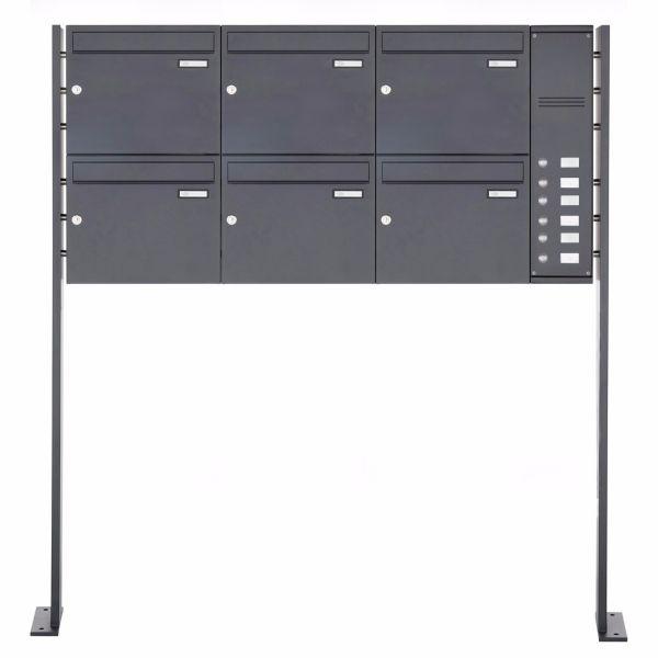 6er Standbriefkasten - Briefkastenanlage BASIC 810Q in RAL 7016 Anthrazit-Grau inkl. Klingel + Namen