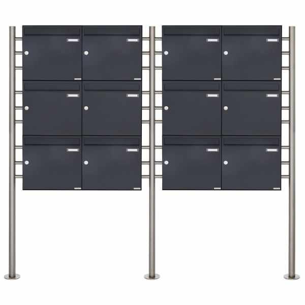 12er 3x4 Briefkastenanlage freistehend Design BASIC 381 ST-R - RAL 7016 anthrazitgrau