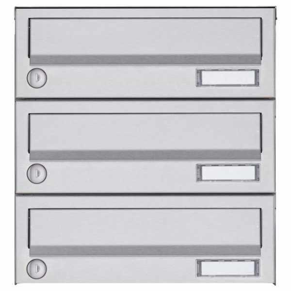 3er Aufputz Briefkastenanlage Design BASIC 385A AP - Edelstahl V2A, geschliffen