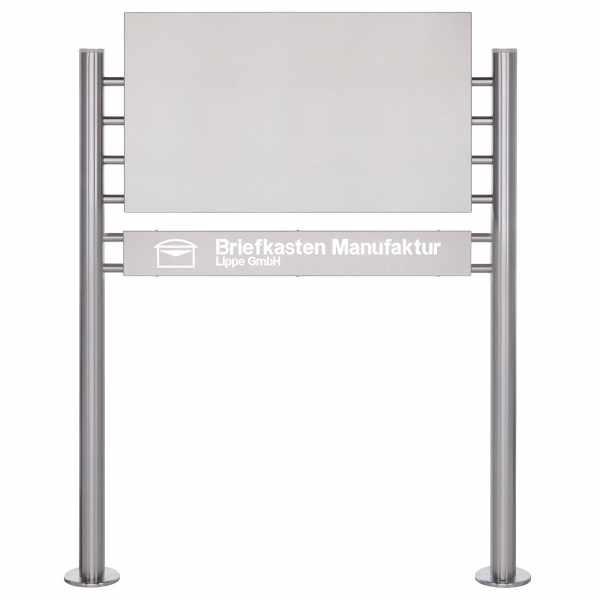 Schild freistehend BASIC 390ES - Edelstahlblech 800x457 einseitig - Beleuchtungskasten 800x100x50