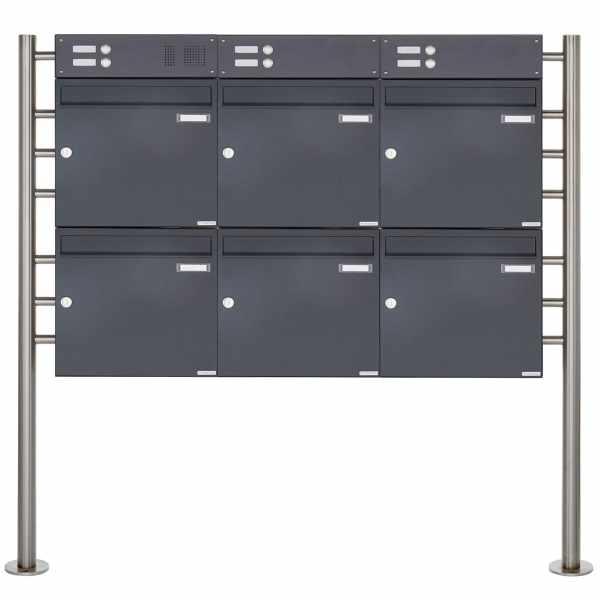 6er 2x3 Standbriefkasten Design BASIC 381 ST-R mit Klingelkasten - RAL 7016 anthrazitgrau