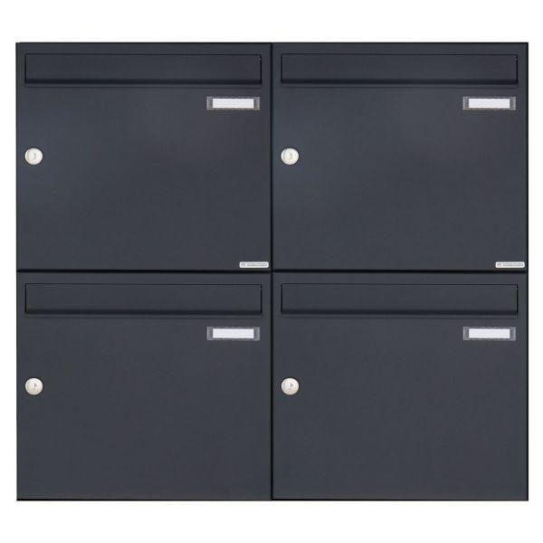 4er 2x2 Aufputz Briefkasten Design BASIC 382A AP - RAL 7016 anthrazitgrau