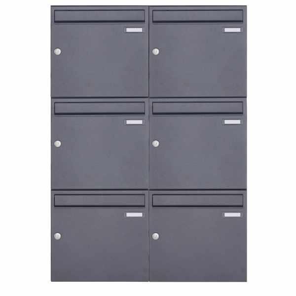 6er 3x2 Aufputz Briefkastenanlage Design BASIC 382A AP - DB703 eisenglimmer