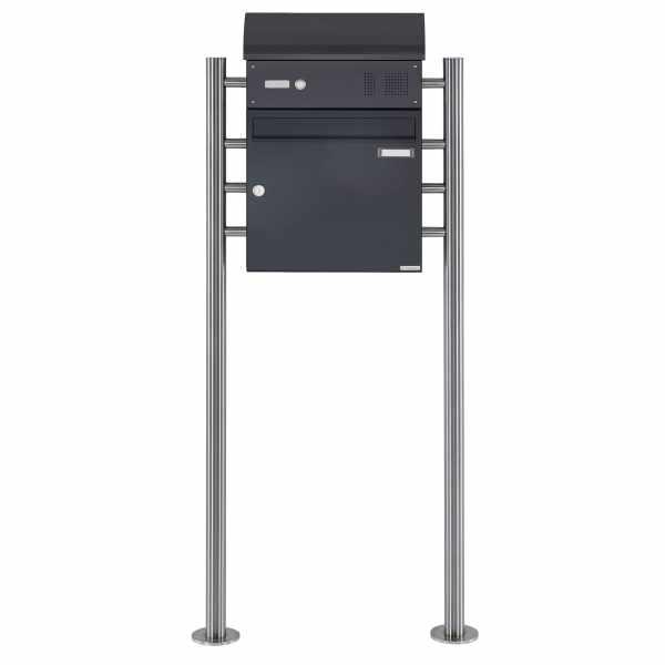 Standbriefkasten Design BASIC 383 ST-R mit Klingelkasten & Zeitungsfach - RAL 7016 anthrazitgrau