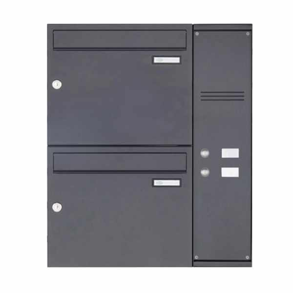 2er Edelstahl Aufputz Briefkasten BASIC Plus 592C AP pulverbeschichtet - Klingelkasten - INDIVIDUELL