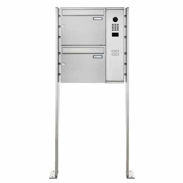 2er Edelstahl Standbriefkasten BASIC Plus 592C ST-P mit DoorBird D2100E Video- Sprechanlage