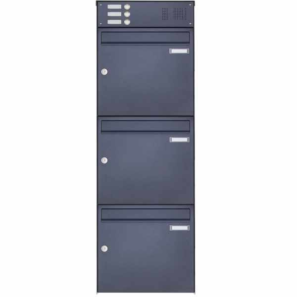 3er Edelstahl Aufputz Briefkasten Design BASIC Plus 382XA AP mit Klingelkasten - RAL nach Wahl