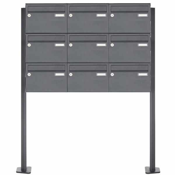 9er Edelstahl Standbriefkasten Design BASIC Plus 385XP220 ST-T - RAL nach Wahl