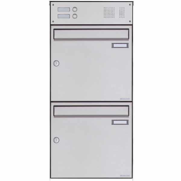 2er Edelstahl Aufputz Briefkasten Design BASIC Plus 382XA AP mit Klingelkasten - Edelstahl V2A
