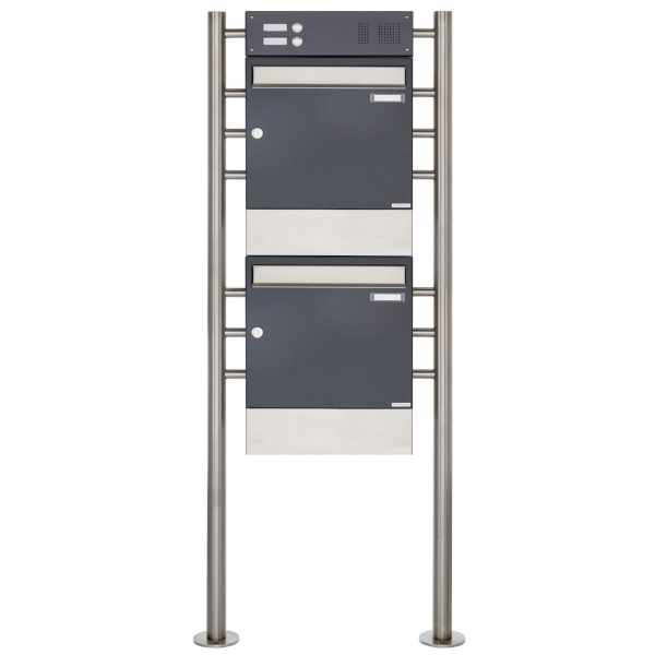 2er 2x1 Standbriefkasten Design BASIC 381 ST-R mit Klingelkasten & Zeitungsfach - Edelstahl-RAL 7016
