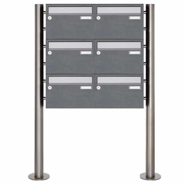 6er Edelstahl Standbriefkasten Design BASIC Plus 385XR220 ST-R - Edelstahl - RAL nach Wahl