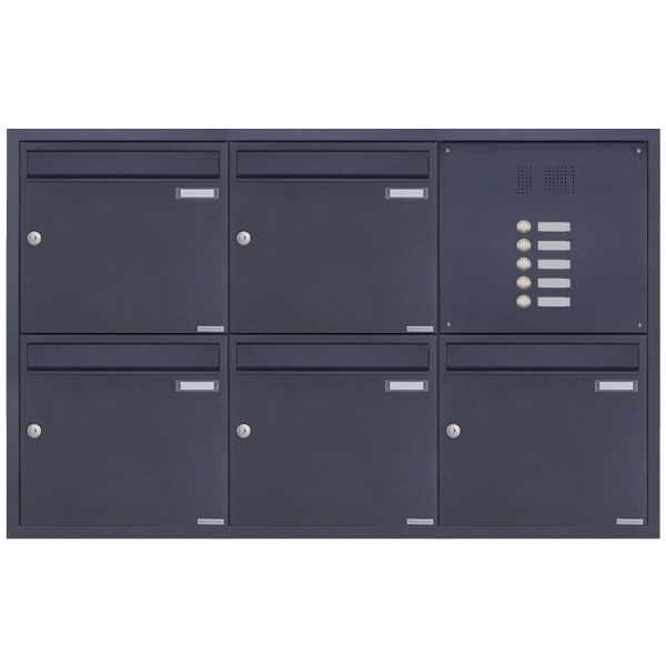 5er 3x2 Edelstahl Unterputz Briefkastenanlage BASIC Plus 382XU UP mit Klingelkasten - RAL nach Wahl