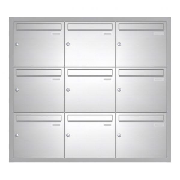 Unterputz Briefkasten BASIC 534 UP - Edelstahl V2A geschliffen - 9 Parteien