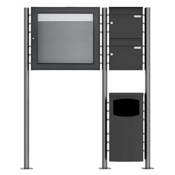 2er Standbriefkasten Design BASIC Plus 381X ST-R mit Abfallbehälter & Schaukasten - RAL Farbe