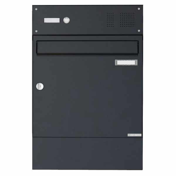 Aufputz Briefkasten Design BASIC 382A AP mit Klingelkasten & Zeitungsfach - RAL 7016 anthrazitgrau