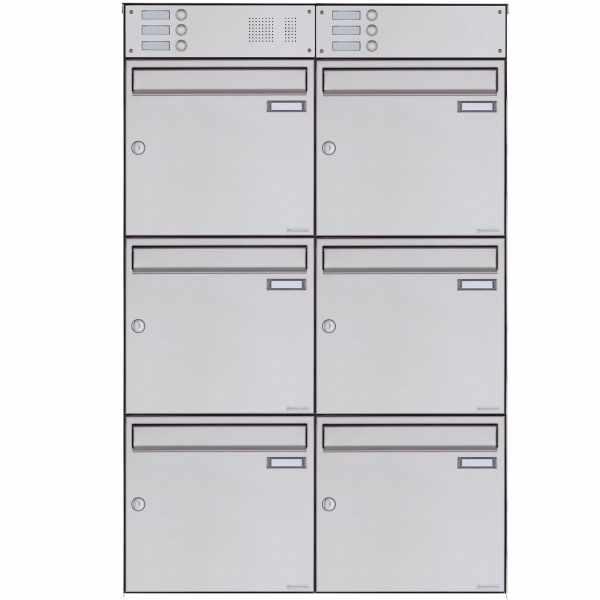 6er Edelstahl Aufputz Briefkasten Design BASIC Plus 382XA AP mit Klingelkasten - Edelstahl V2A