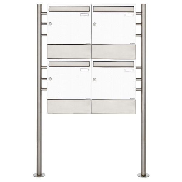 4er 2x2 Standbriefkasten Design BASIC 381 ST-R mit Zeitungsfächer - RAL 9016 verkehrsweiß