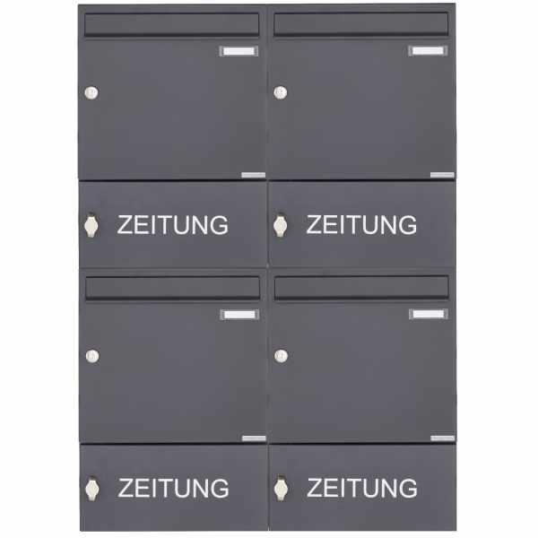 4er Aufputz Briefkasten Design BASIC 382A AP mit Zeitungsfach geschlossen - RAL 7016 anthrazitgrau