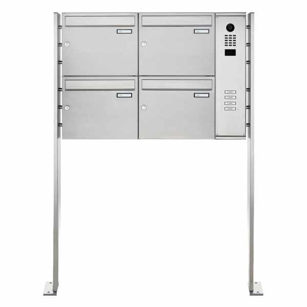 4er Edelstahl Standbriefkasten BASIC Plus 592C ST-P mit DoorBird D2100E Video- Sprechanlage