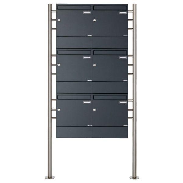 6er 3x2 Standbriefkasten Design BASIC 381 ST-R mit Zeitungsfächer - RAL 7016 anthrazitgrau