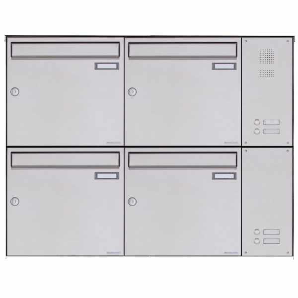 4er Edelstahl Aufputz Briefkasten BASIC Plus 382X AP mit Klingelkasten seitlich