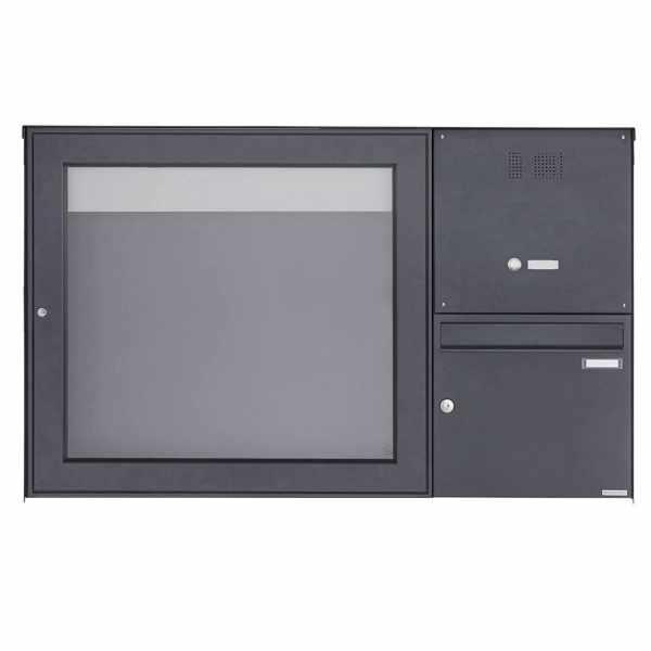 Aufputz Briefkasten BASIC Plus 389XA AP mit Schaukasten & Klingelkasten - 710x660 - RAL nach Wahl