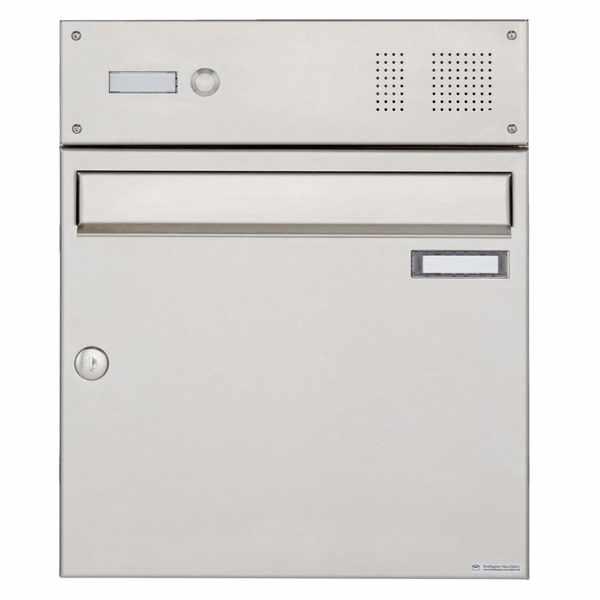 Edelstahl Aufputz Briefkasten Design BASIC 382A AP mit Klingelkasten