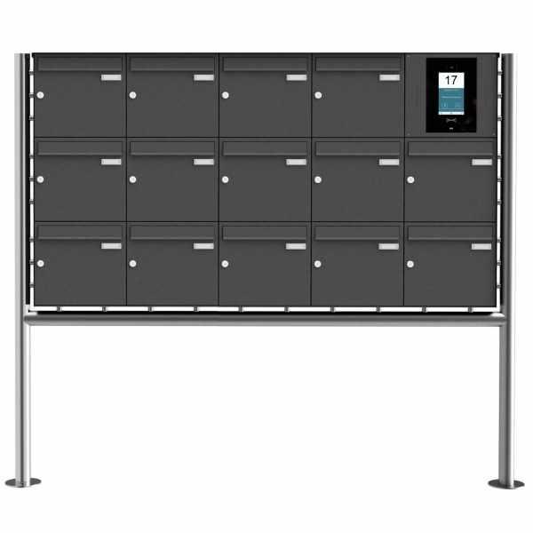 14er Edelstahl Standbriefkasten BASIC Plus 381X ST-R - RAL- STR Digitale Türstation - Komplettset