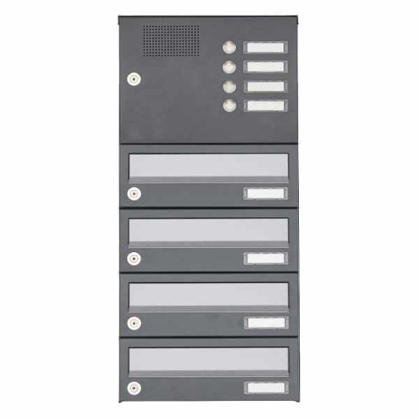 4er Aufputz Briefkastenanlage Design BASIC 385A AP mit Klingelkasten - Edelstahl-RAL 7016 anthrazit