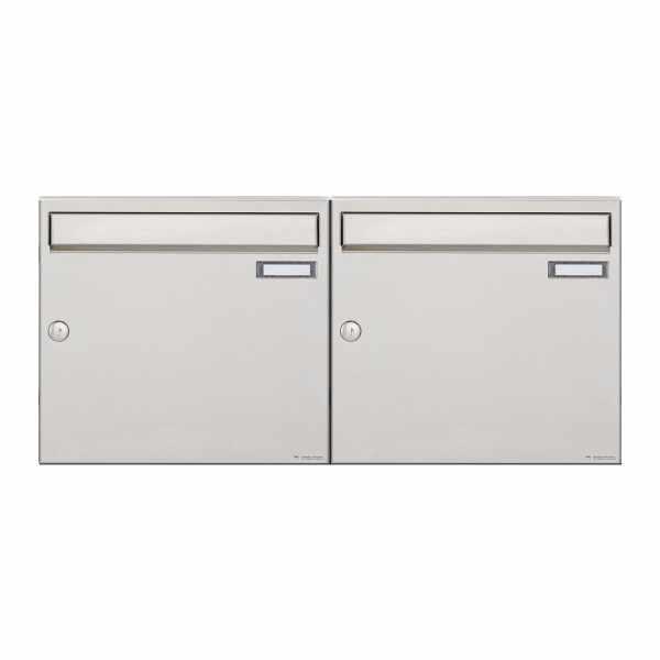 2er 1x2 Edelstahl Aufputz Briefkastenanlage Design BASIC 382A-AP
