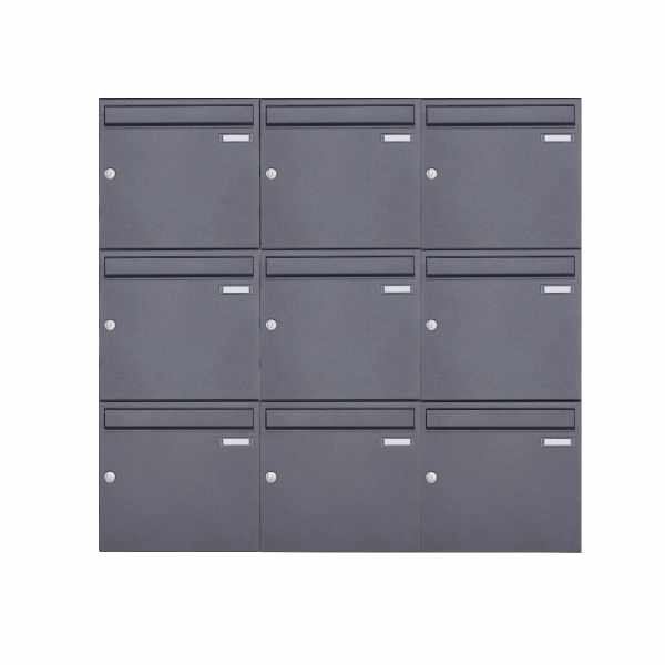 9er 3x3 Aufputz Briefkasten Design BASIC 382A AP - DB703 eisenglimmer