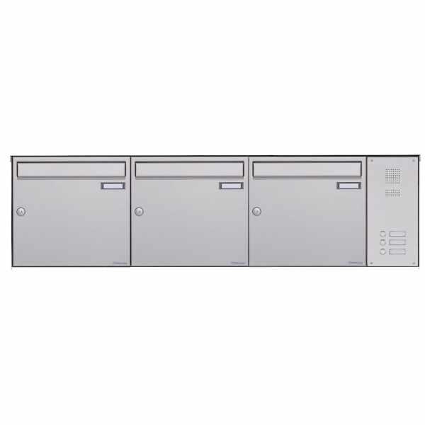 3er Edelstahl Aufputz Briefkasten BASIC Plus 382X AP mit Klingelkasten seitlich