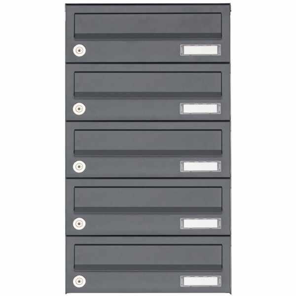 5er Aufputz Briefkastenanlage Design BASIC 385A AP - RAL 7016 anthrazitgrau