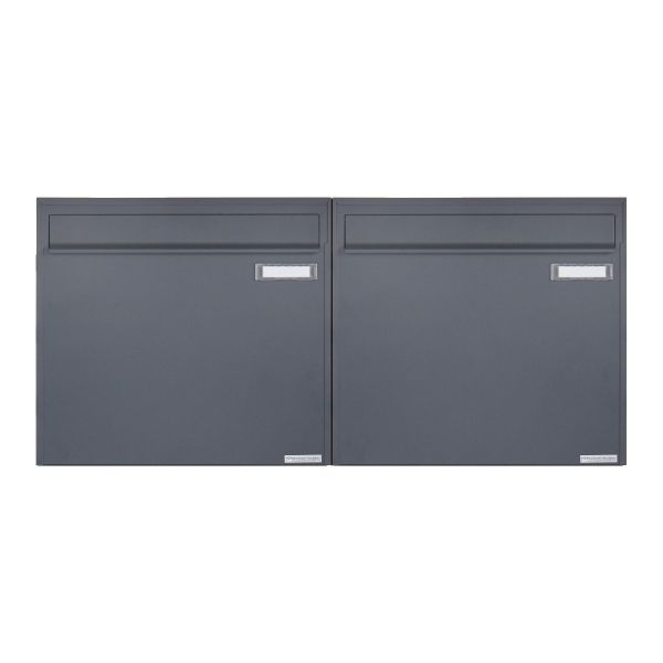 2er 1x2 Zaunbriefkasten Design BASIC 382Z - RAL 7016 anthrazitgrau - Entnahme rückseitig