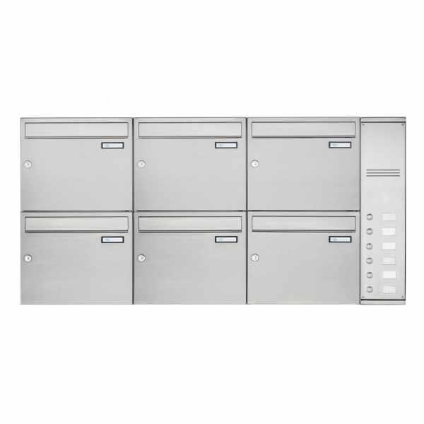 6er Edelstahl Aufputz Briefkasten Design BASIC Plus 592C AP mit Klingelkasten - INDIVIDUELL