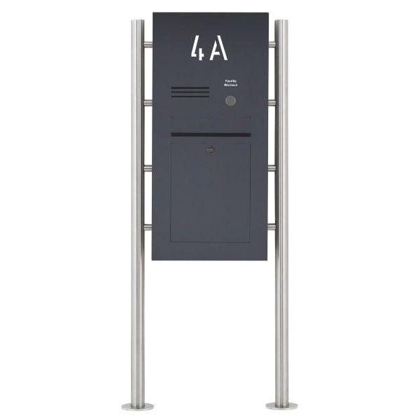 Edelstahl Standbriefkasten Designer ST-R - Hausnummer hinterbeleuchtet - RAL nach Wahl - INDIVIDUELL