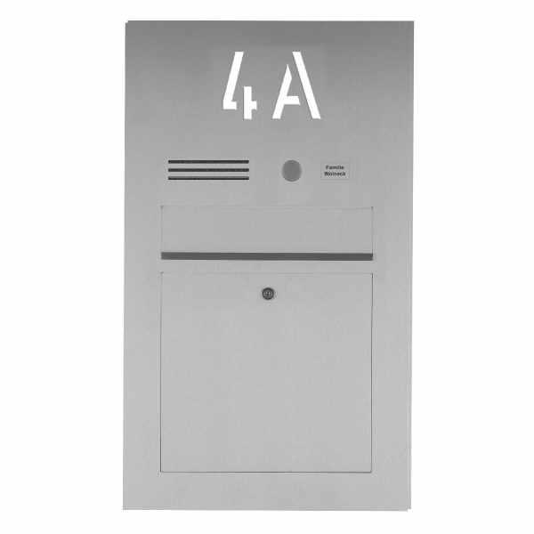 Edelstahl Briefkasten Designer BIG mit Hausnummer, hinterbeleuchtet - INDIVIDUELL