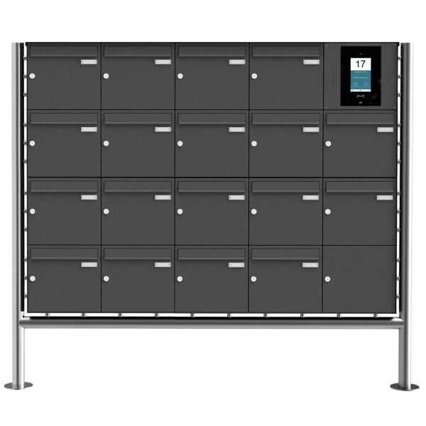 18er Edelstahl Standbriefkasten BASIC Plus 381X ST-R - RAL- STR Digitale Türstation - Komplettset