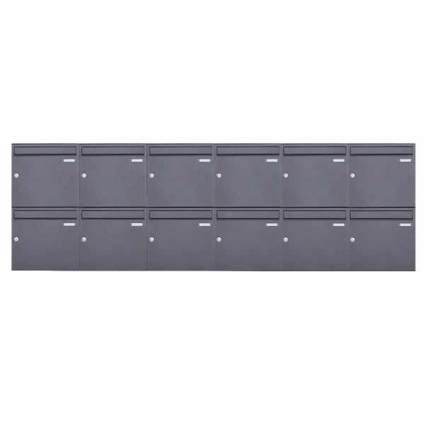12er 2x6 Aufputz Briefkasten Design BASIC 382A AP - DB703 eisenglimmer